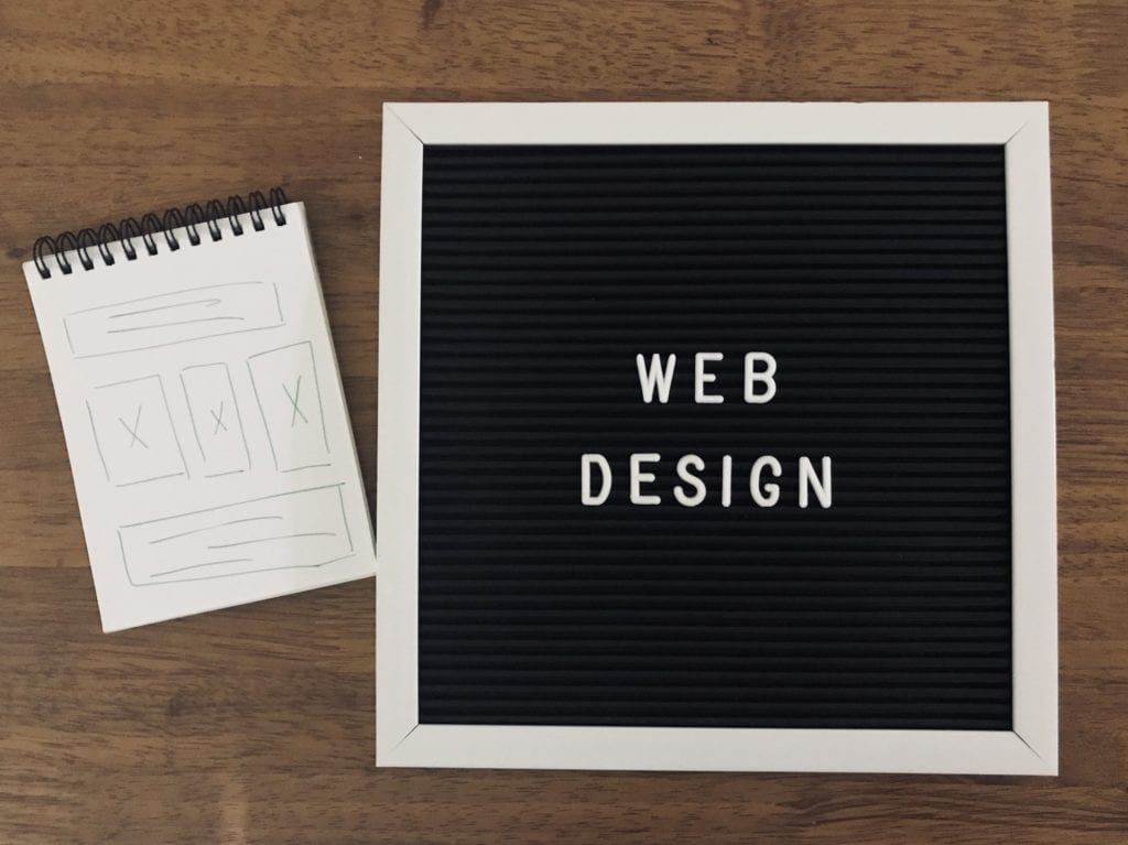 Web design concept on wooden background