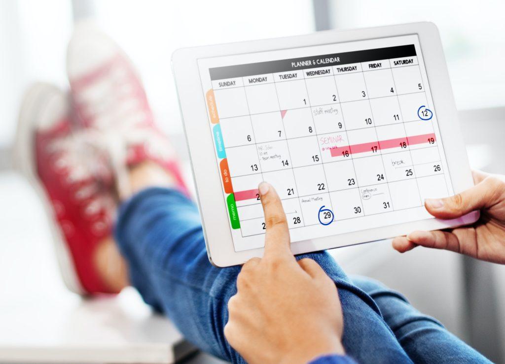 Agenda showing on a digital tablet